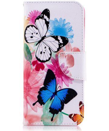 Samsung Galaxy A6 Portemonnee Hoesje met Vlinders Print