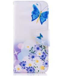 Samsung Galaxy A6 Portemonnee Hoesje met Vlinder Print