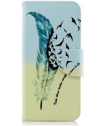 Samsung Galaxy A6 Portemonnee Hoesje met Veer Print