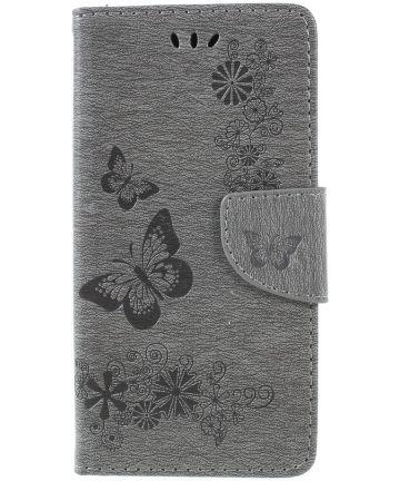 Samsung Galaxy A6 Vlinder Portemonnee Hoesje Grijs