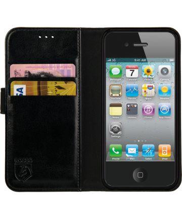 Rosso Element Apple iPhone 4 / 4S Hoesje Book Cover Zwart Hoesjes