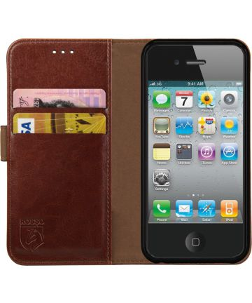 Rosso Element Apple iPhone 4 / 4S Hoesje Book Cover Bruin Hoesjes