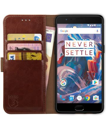 Rosso Element OnePlus 3T / 3 Hoesje Book Cover Bruin Hoesjes