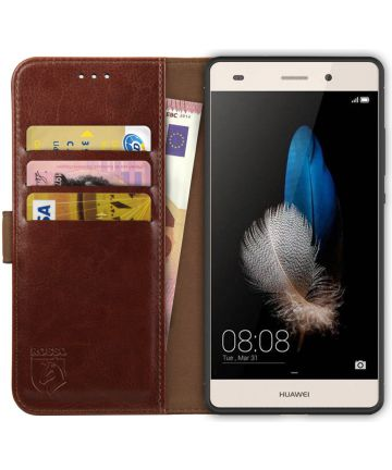 Rosso Element Huawei P8 Lite Hoesje Book Cover Bruin Hoesjes