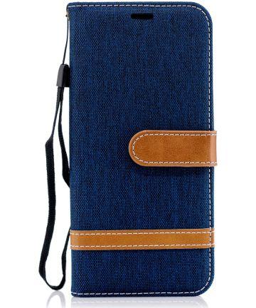 Samsung Galaxy A6 Portemonnee Hoesje Donker Blauw