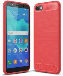 Huawei Y5 (2018) Geborsteld TPU Hoesje Rood