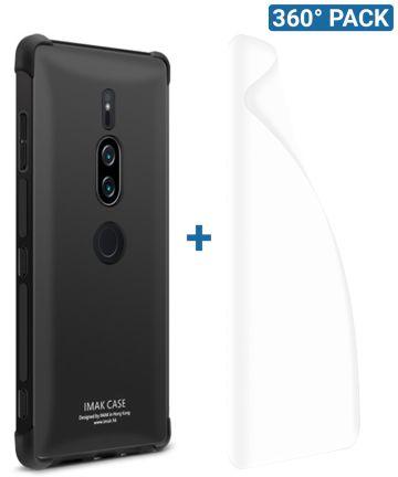 IMAK Sony Xperia XZ2 Premium Hoesje met Screenprotector Metaal Zwart Hoesjes