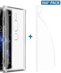 IMAK Sony Xperia XZ2 Premium Hoesje met Screenprotector Transparant