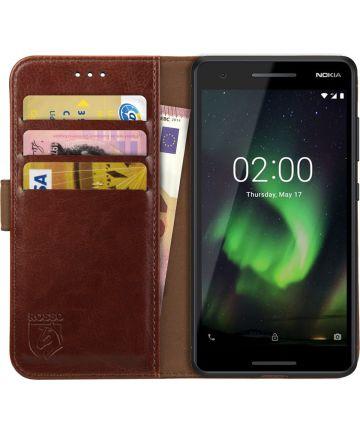 Rosso Element Nokia 2.1 Hoesje Book Cover Bruin Hoesjes