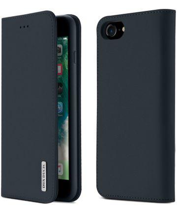 Dux Ducis Luxe Book Case Apple iPhone 8 / 7 Hoesje Echt Leer Blauw