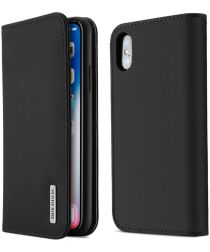 Dux Ducis Luxe Book Case Apple iPhone X Hoesje Echt Leer Zwart