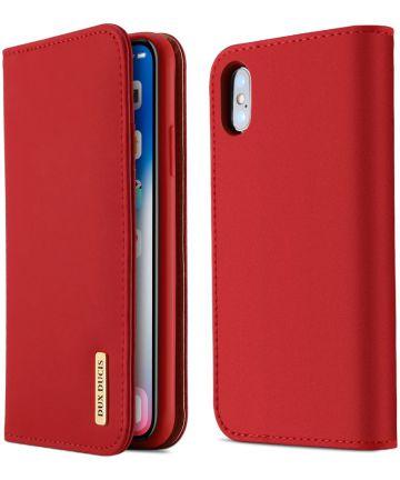 Dux Ducis Luxe Book Case Apple iPhone X Hoesje Echt Leer Rood