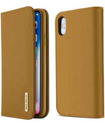 Dux Ducis Luxe Book Case Apple iPhone X Hoesje Echt Leer Khaki