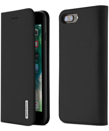 Dux Ducis Luxe Book Case iPhone 8 Plus / 7 Plus Hoesje Echt Leer Zwart Hoesjes