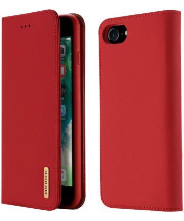 Dux Ducis Luxe Book Case Apple iPhone 8 / 7 / SE 2020 Echt Leer Rood Hoesjes