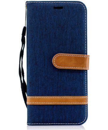 Samsung Galaxy J6 (2018) Jeans Portemonnee Hoesje Donker Blauw Hoesjes