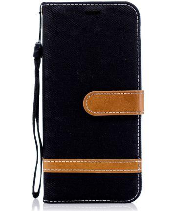 Samsung Galaxy J6 (2018) Jeans Portemonnee Hoesje Zwart Hoesjes