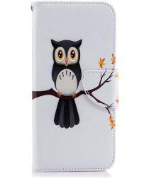 Samsung Galaxy J6 (2018) Lederen Portemonnee Hoesje Owl Tree