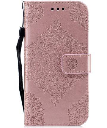 Samsung Galaxy J6 (2018) Lederen Wallet Hoesje Flower Print Rose Gold