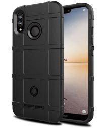 Huawei P20 Lite Anti-Shock Hybride Hoesje Zwart