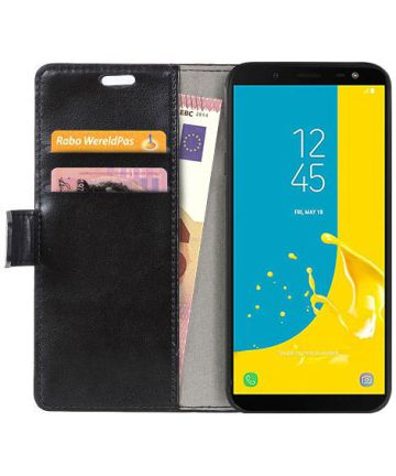 Samsung Galaxy J6 (2018) Crazy Horse Portemonnee Hoesje Zwart Hoesjes