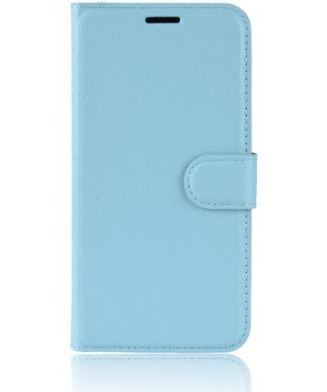 Samsung Galaxy J6 (2018) Litchi Skin Leren Portemonnee Hoesje Blauw Hoesjes