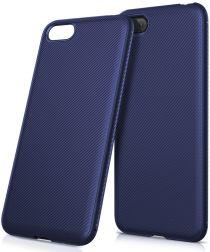 Huawei Y5 (2018) Twill Texture TPU Hoesje Blauw