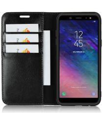 Samsung Galaxy A6 Crazy Horse Leren Portemonnee Hoesje Zwart