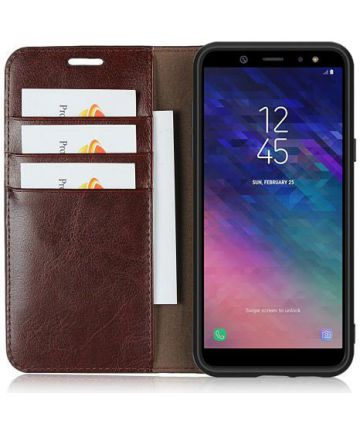 Samsung Galaxy A6 Crazy Horse Leren Portemonnee Hoesje Coffee Hoesjes