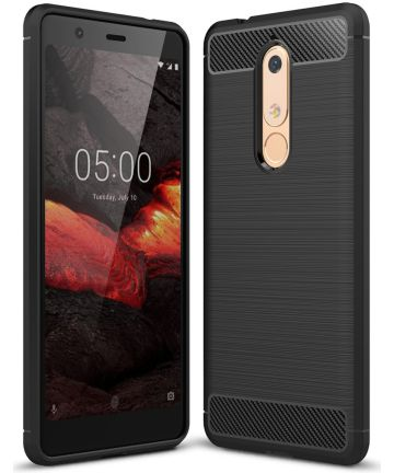 Nokia 5.1 Geborsteld TPU Hoesje Zwart