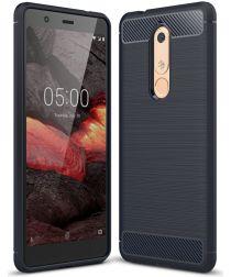 Nokia 5.1 Geborsteld TPU Hoesje Blauw