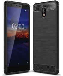 Nokia 3.1 Geborsteld TPU Hoesje Zwart