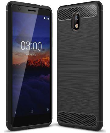 Nokia 3.1 Geborsteld TPU Hoesje Zwart Hoesjes