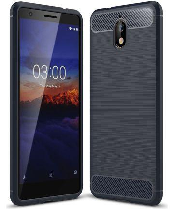 Nokia 3.1 Geborsteld TPU Hoesje Blauw Hoesjes
