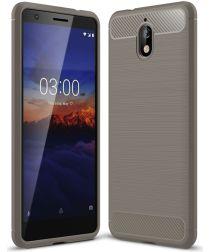 Nokia 3.1 Geborsteld TPU Hoesje Grijs