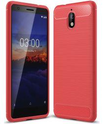 Nokia 3.1 Geborsteld TPU Hoesje Rood