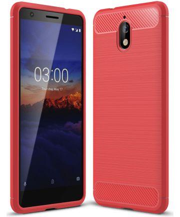 Nokia 3.1 Geborsteld TPU Hoesje Rood Hoesjes