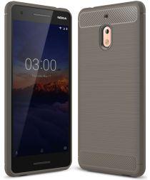 Nokia 2.1 Geborsteld TPU Hoesje Grijs
