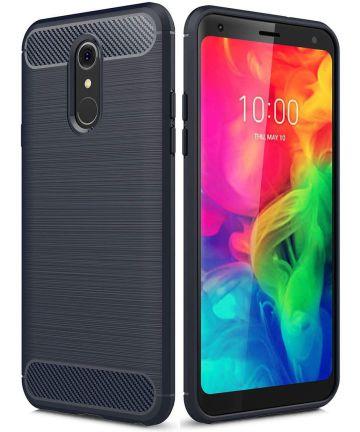 LG Q7 Geborsteld TPU Hoesje Blauw