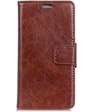 OnePlus 6 Split Lederen Portemonnee Hoesje Bruin
