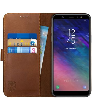 Rosso Deluxe Samsung Galaxy A6 Plus hoesje Echt Leer Book Case Bruin