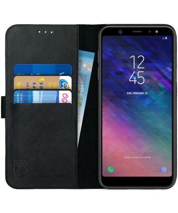 Rosso Deluxe Samsung Galaxy A6 Plus Hoesje Echt Leer Book Case Zwart
