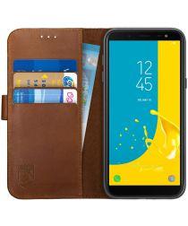 Rosso Deluxe Samsung Galaxy J6 2018 Hoesje Echt Leer Book Case Bruin