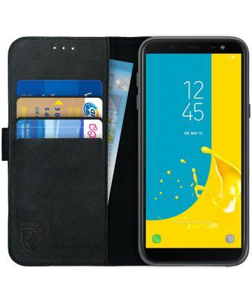 Rosso Deluxe Samsung Galaxy J6 2018 Hoesje Echt Leer Book Case Zwart Hoesjes