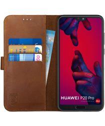 Rosso Deluxe Huawei P20 Pro Hoesje Echt Leer Book Case Bruin