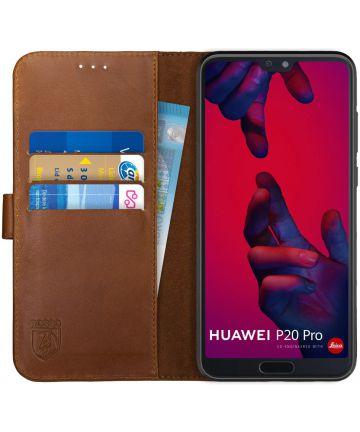Rosso Deluxe Huawei P20 Pro Hoesje Echt Leer Book Case Bruin Hoesjes
