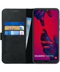 Rosso Deluxe Huawei P20 Pro Hoesje Echt Leer Book Case Zwart