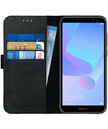 Rosso Deluxe Huawei Y6 2018 Hoesje Echt Leer Book Case Zwart Hoesjes