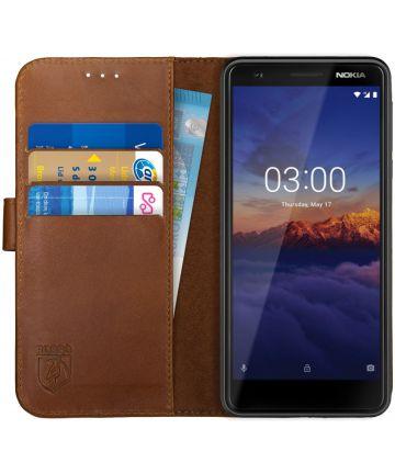 Rosso Deluxe Nokia 3.1 Hoesje Echt Leer Book Case Bruin