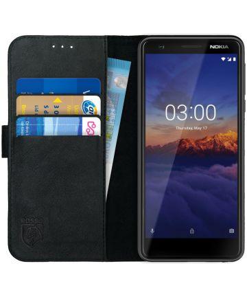 Rosso Deluxe Nokia 3.1 Hoesje Echt Leer Book Case Zwart